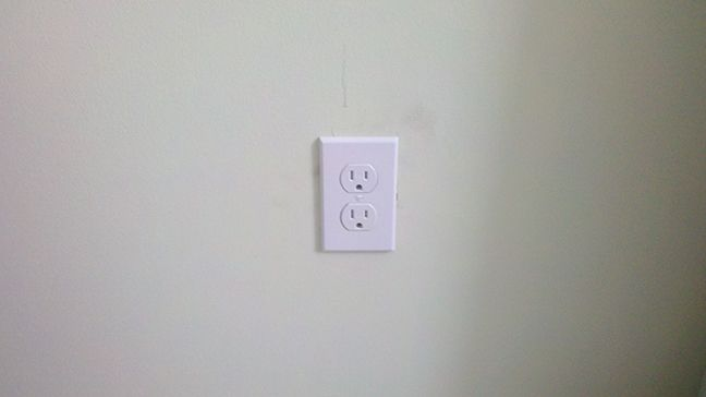 receptacle added to a finished wall